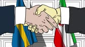 diplomat : Businessmen or politicians shake hands against flags of Sweden and Iran. Official meeting or cooperation related cartoon animation