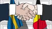 belga : Businessmen or politicians shake hands against flags of Sweden and Belgium. Official meeting or cooperation related cartoon animation