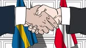 diplomat : Businessmen or politicians shake hands against flags of Sweden and Austria. Official meeting or cooperation related cartoon animation Stock Footage