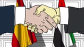 desenhado : Businessmen or politicians shake hands against flags of Spain and UAE. Official meeting or cooperation related cartoon animation