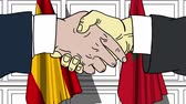 марокканский : Businessmen or politicians shake hands against flags of Spain and Morocco. Official meeting or cooperation related cartoon animation