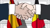 diplomat : Businessmen or politicians shake hands against flags of Spain and Belgium. Official meeting or cooperation related cartoon animation