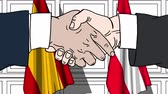 osztrák : Businessmen or politicians shake hands against flags of Spain and Austria. Official meeting or cooperation related cartoon animation