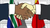 diplomat : Businessmen or politicians shake hands against flags of South Africa and China. Official meeting or cooperation related cartoon animation