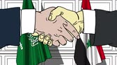 diplomat : Businessmen or politicians shake hands against flags of Saudi Arabia and Syria. Official meeting or cooperation related cartoon animation