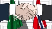 diplomat : Businessmen or politicians shake hands against flags of Saudi Arabia and Norway. Official meeting or cooperation related cartoon animation Stock Footage
