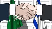 desenhado : Businessmen or politicians shake hands against flags of Saudi Arabia and Israel. Official meeting or cooperation related cartoon animation