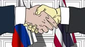 diplomat : Businessmen or politicians shake hands against flags of Russia and Thailand. Official meeting or cooperation related cartoon animation