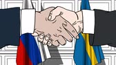 diplomat : Businessmen or politicians shake hands against flags of Russia and Sweden. Official meeting or cooperation related cartoon animation