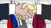 cartoon : Businessmen or politicians shake hands against flags of Russia and Qatar. Official meeting or cooperation related cartoon animation
