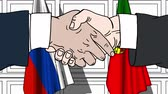 desenhado : Businessmen or politicians shake hands against flags of Russia and Portugal. Official meeting or cooperation related cartoon animation