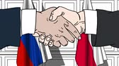 diplomat : Businessmen or politicians shake hands against flags of Russia and Poland. Official meeting or cooperation related cartoon animation