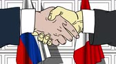 desenhado : Businessmen or politicians shake hands against flags of Russia and Peru. Official meeting or cooperation related cartoon animation