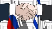 diplomat : Businessmen or politicians shake hands against flags of Russia and Israel. Official meeting or cooperation related cartoon animation