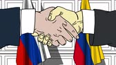 diplomat : Businessmen or politicians shake hands against flags of Russia and Colombia. Official meeting or cooperation related cartoon animation Stock Footage