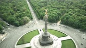 almanca : Aerial shot of Berlin Victory Column, major tourist attraction of the city, Germany