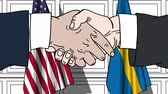 diplomat : Businessmen or politicians shake hands against flags of USA and Sweden. Official meeting or cooperation related cartoon animation