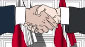 danish : Businessmen or politicians shake hands against flags of Poland and Denmark. Official meeting or cooperation related cartoon animation Stock Footage