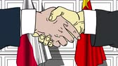 desenhada à mão : Businessmen or politicians shake hands against flags of Poland and China. Official meeting or cooperation related cartoon animation
