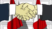 diplomat : Businessmen or politicians shake hands against flags of Peru. Official meeting or cooperation related cartoon animation