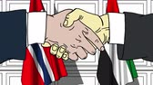 diplomat : Businessmen or politicians shake hands against flags of Norway and UAE. Official meeting or cooperation related cartoon animation