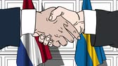 cartoon : Businessmen or politicians shake hands against flags of Netherlands and Sweden. Official meeting or cooperation related cartoon animation