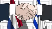 diplomat : Businessmen or politicians shake hands against flags of Netherlands and Israel. Official meeting or cooperation related cartoon animation
