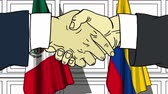 diplomat : Businessmen or politicians shake hands against flags of Mexico and Colombia. Official meeting or cooperation related cartoon animation