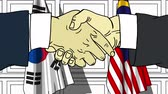 diplomat : Businessmen or politicians shake hands against flags of Korea and Malaysia. Official meeting or cooperation related cartoon animation