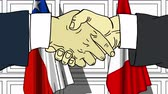 diplomat : Businessmen or politicians shake hands against flags of Chile and Peru. Official meeting or cooperation related cartoon animation
