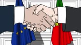desenhado : Businessmen or politicians shake hands against flags of European Union EU and Portugal. Official meeting or cooperation related cartoon animation