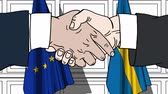 diplomat : Businessmen or politicians shake hands against flags of European Union EU and Sweden. Official meeting or cooperation related cartoon animation