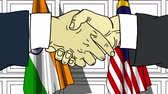 diplomat : Businessmen or politicians shake hands against flags of India and Malaysia. Official meeting or cooperation related cartoon animation Stock Footage