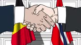 belga : Businessmen or politicians shake hands against flags of Belgium and Norway. Official meeting or cooperation related cartoon animation