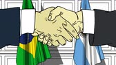 diplomat : Businessmen or politicians shake hands against flags of Brazil and Argentina. Official meeting or cooperation related cartoon animation