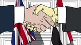 spojené království : Businessmen or politicians shake hands against flags of Britain and Egypt. Official meeting or cooperation related cartoon animation