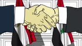 diplomat : Businessmen or politicians shake hands against flags of Egypt and Syria. Official meeting or cooperation related cartoon animation