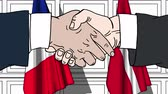 desenhado : Businessmen or politicians shake hands against flags of France and Denmark. Official meeting or cooperation related cartoon animation