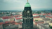 sloping : Aerial view of Dresden City Hall clock tower and the cityscape, Germany