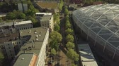 rooftop : Aerial view of Leipzig street, Germany Stock Footage