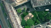 flat roof : DRESDEN, GERMANY - MAY 2, 2018. Aerial top down view of apartment house courtyard and the street