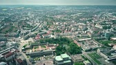 sloping : High altitude aerial view of historic part of Dresden, Germany Stock Footage