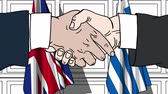 diplomat : Businessmen or politicians shake hands against flags of Britain and Greece. Official meeting or cooperation related cartoon animation Stock Footage