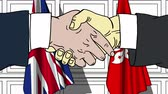 jazyk : Businessmen or politicians shake hands against flags of Britain and Hong Kong. Official meeting or cooperation related cartoon animation