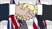 diplomat : Businessmen or politicians shake hands against flags of Britain and Thailand. Official meeting or cooperation related cartoon animation