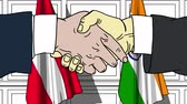 austrian : Businessmen or politicians shake hands against flags of Austria and India. Official meeting or cooperation related cartoon animation