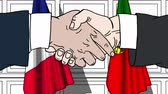 diplomat : Businessmen or politicians shake hands against flags of France and Portugal. Official meeting or cooperation related cartoon animation Stock Footage
