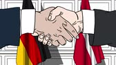 diplomat : Businessmen or politicians shake hands against flags of Germany and Denmark. Official meeting or cooperation related cartoon animation