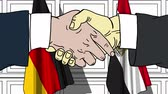 diplomat : Businessmen or politicians shake hands against flags of Germany and Egypt. Official meeting or cooperation related cartoon animation