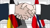 diplomat : Businessmen or politicians shake hands against flags of Germany and Norway. Official meeting or cooperation related cartoon animation Stock Footage